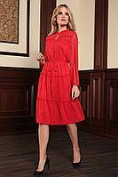 Женское осеннее шифоновое красное большого размера платье Bazalini 3784 48р.