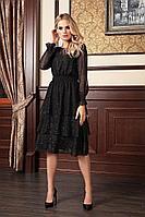 Женское осеннее шифоновое черное нарядное платье Bazalini 3786 44р.