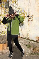 Женский осенний трикотажный спортивный большого размера спортивный костюм Runella 1437 зелень 50р.