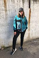 Женский осенний трикотажный спортивный большого размера спортивный костюм Runella 1437 бирюза 50р.