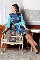 Женское осеннее нарядное платье Мода Юрс 2529 бирюза-синий 48р.