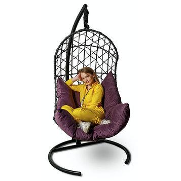 Подвесное кресло Barselona черное + фиолетовая подушка