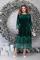 Женское осеннее кружевное зеленое нарядное большого размера платье Ninele 5811 изумруд 48р.