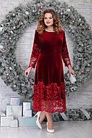 Женское осеннее кружевное красное нарядное большого размера платье Ninele 5811 красный 48р.