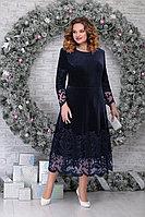 Женское осеннее кружевное синее нарядное большого размера платье Ninele 5811 синий 48р.