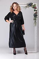 Женское осеннее черное нарядное большого размера платье Michel chic 2030 чёрный 52р.