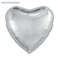 """Шар фольгированный 18"""", сердце, цвет серебряный"""