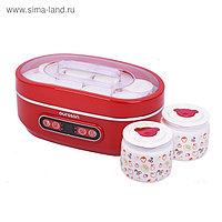 Йогуртница Oursson FE1405D/RD, 20 Вт, 125/500 мл, 10 ёмкостей, таймер, керамика, красная
