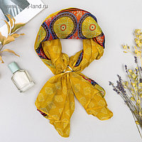 "Комплект ""Фэшн"" (платок женский 90*90 см, кольцо), цвет жёлтый"