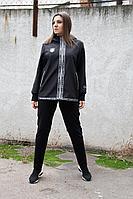Женский осенний трикотажный черный спортивный большого размера спортивный костюм Runella 1419 48р.