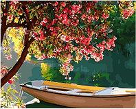 Картина по номерам GX 34147 Лодка под цветущим деревом 40*50