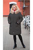 Женское зимнее серое пальто Bugalux 8950 170-антрацит 44р.