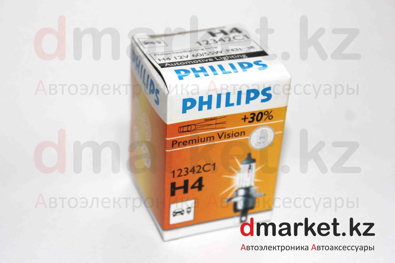 Лампа галогеновая Philips H4, 12V, 60/55W P43T-38
