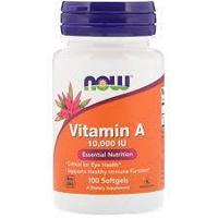 Витамин А, 10 000 МЕ, 100 капсул, Now Foods