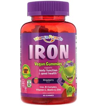 Vitamin Friends, Веганские жевательные конфеты с железом, ароматизатор со вкусом клубники, 60 жевательных конф