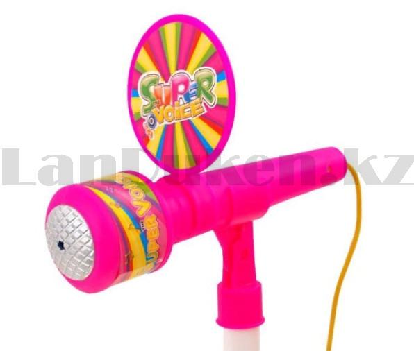 Микрофон детский музыкальный на стойке The super voice с USB-разъемом на батарейках розового цвета - фото 7