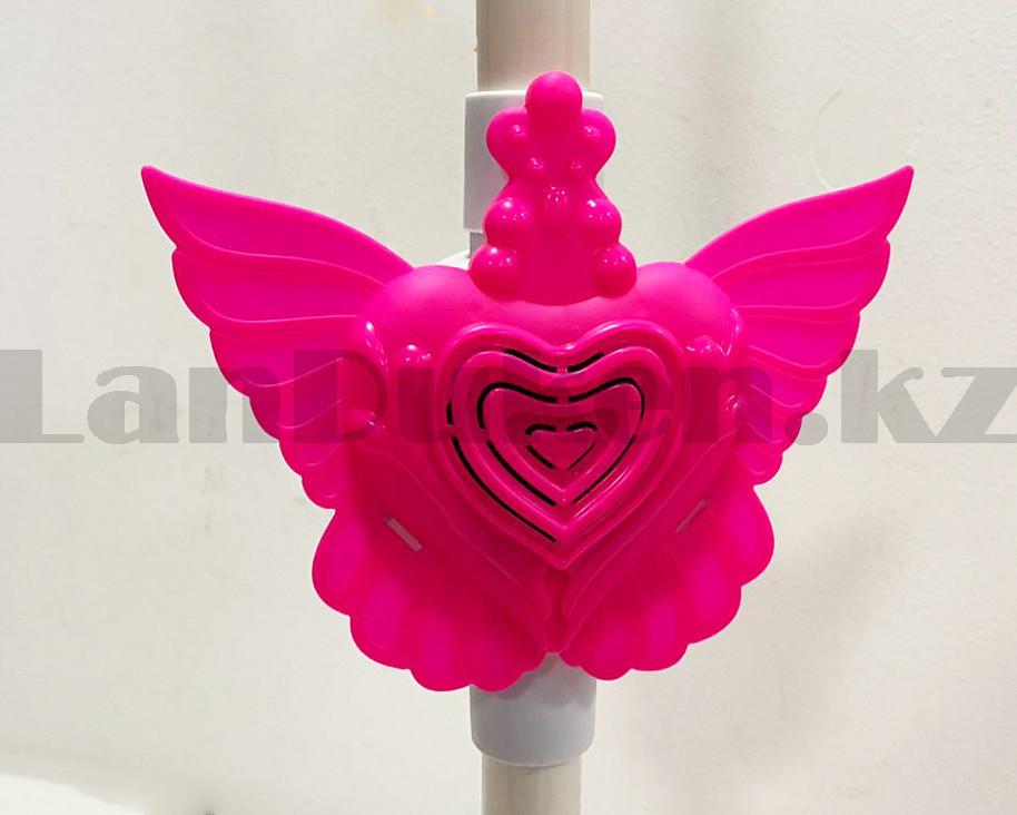Микрофон детский музыкальный на стойке The super voice с USB-разъемом на батарейках розового цвета - фото 9