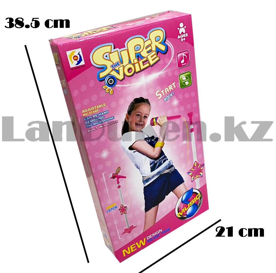 Микрофон детский музыкальный на стойке The super voice с USB-разъемом на батарейках розового цвета - фото 3