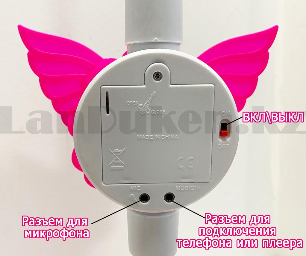 Микрофон детский музыкальный на стойке The super voice с USB-разъемом на батарейках розового цвета - фото 5