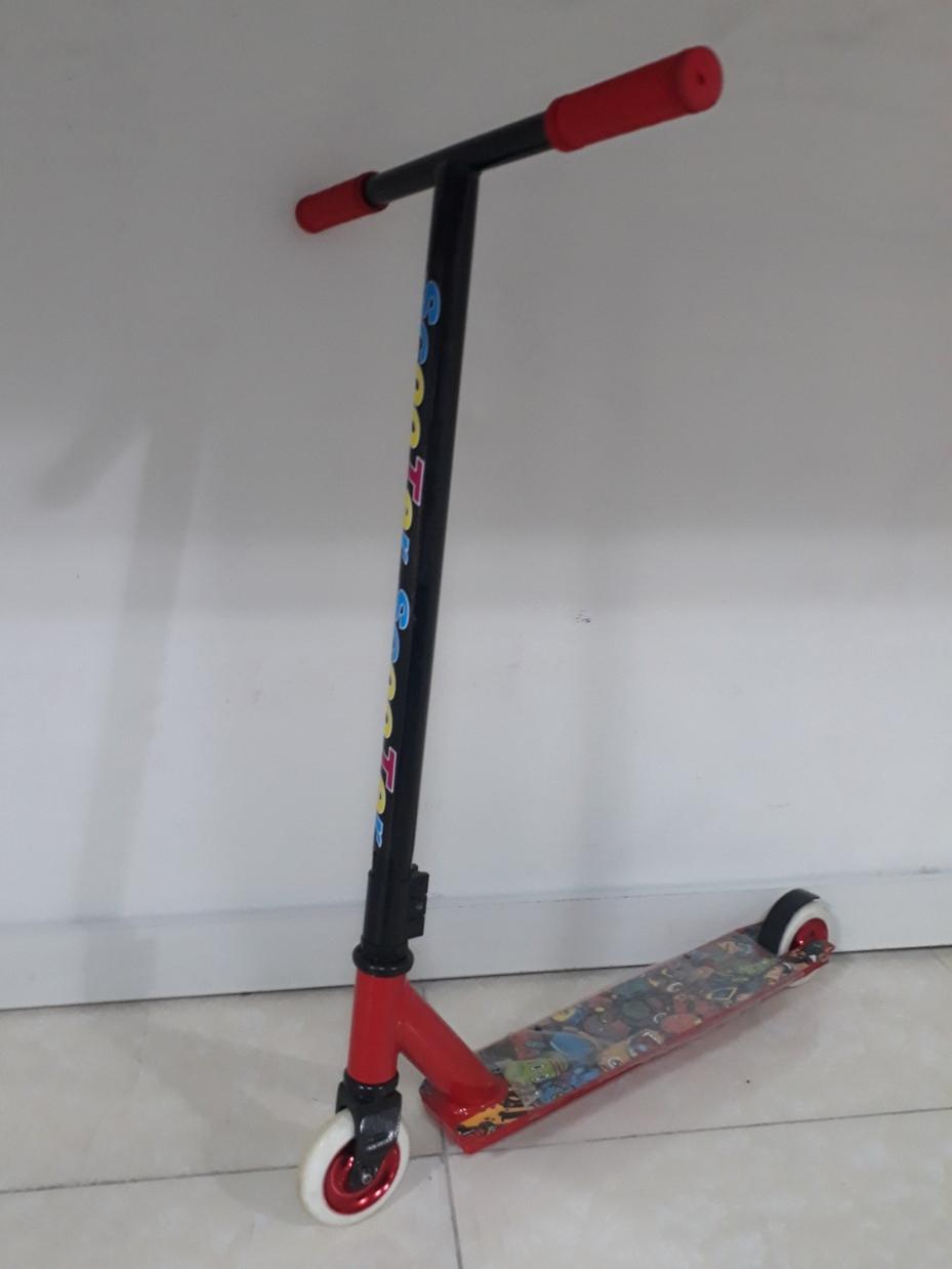 Трюковый самокат Scooter со скидкой. Тэшка. Прямой руль