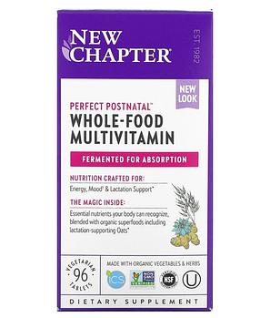 New Chapter, Perfect Postnatal, мультивитамины из цельных продуктов, 96 вегетарианских таблеток