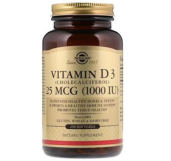 Solgar, Витамин D3 (холекальциферол), 25 мкг (1000 МЕ), 250 мягких желатиновых капсул