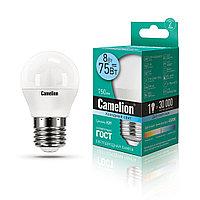 Эл. лампа светодиодная, Camelion, LED8-G45/845/E27, Мощность 8Вт, Тип колбы G45, Цвет. температура 4