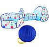 Детская палатка с тоннелем голубой/горох/солнце