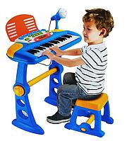 Детский синтезатор с микрофоном 27-3 синий, фото 1