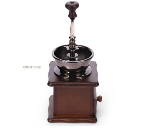 Кофемолка ручная с деревянным ящиком , жерновая