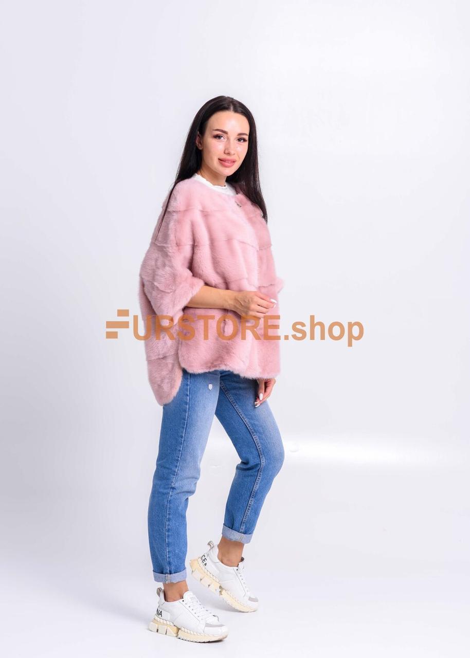 Норковый розовый полушубок для женсщин - фото 2
