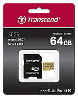 Карта памяти MicroSD 64GB Class 10 U3 Transcend TS64GUSD500S