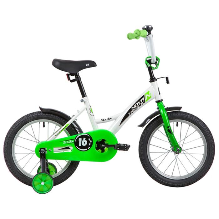 """Велосипед 16"""" Novatrack Strike, 2020,  цвет белый/зеленый"""