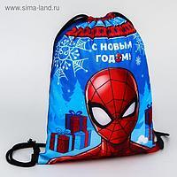 Мешок для подарков новогодний «Человек-паук», MARVEL, 21 x 0,5 x 29 см, отдел на шнурке