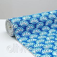 Коврик ПВХ «Ракушки», 0,65×2 м, цвет синий