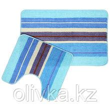 Набор ковриков для ванны и туалета Доляна «Полоски», 2 шт: 35×45, 45×70 см, цвет голубой