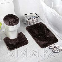 Набор ковриков для ванны и туалета «Пушистик», 3 шт: 32×40, 40×50, 50×80 см, цвет коричневый