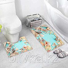 Набор ковриков для ванны и туалета «Ракушки», 2 шт: 40×45, 45×75 см