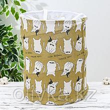 Корзина для белья складная «Котики», 35×35×43 см