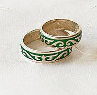 Кольцо обручальное / зелёная эмаль / размеры 16 - 22