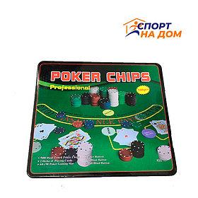 Покерный набор в жестяной коробке 500 фишек
