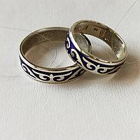 Кольцо обручальное , размер с 16 - 22, синяя эмаль