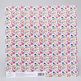 """Бумага для скрапбукинга Me to you Цветы """"Улыбайся"""", 30.5х30.5 см 180 гр/м, фото 2"""