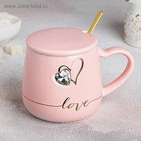Кружка «Любовь», 550 мл, с керамической крышкой и ложкой, цвет МИКС