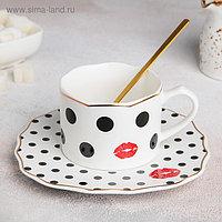 Чайная пара «Бантик»: чашка 200 мл, блюдце 17×1,5 см, ложка