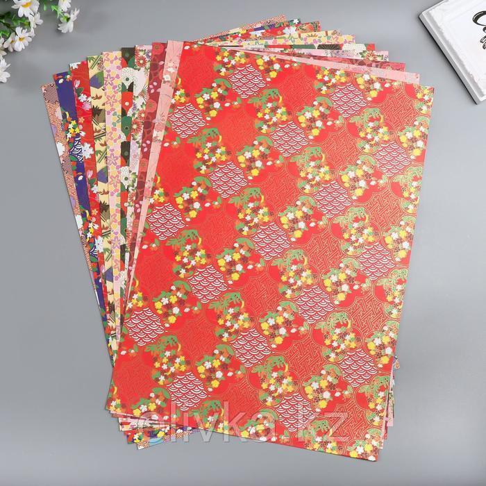 """Бумага 1-сторонняя с золотым тиснением """"Полянка""""набор 50 лист.,плотность 80 гр 49,5х34,5 см"""