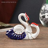 """Сувенир керамика """"Поцелуй лебедей"""" цветные, стразы с 2-х сторон 10х5,5х13 см"""