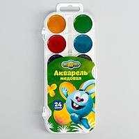 Акварель 24 цвета, «Смешарики», карамельная, без кисти