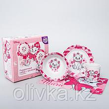 Набор посуды «Мари», 4 предмета: тарелка Ø 16,5 см, миска Ø 14 см, кружка 200 мл, коврик в подарочной