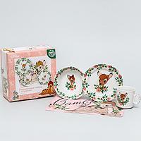 Набор посуды «Бэмби», 4 предмета: тарелка Ø 16,5 см, миска Ø 14 см, кружка 250 мл, коврик в подарочной